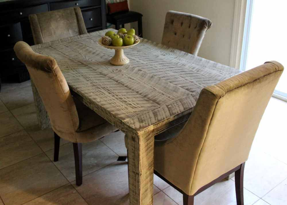Farmhouse Table Made with Reclaimed Wood and a Heavy Whitewash Finish