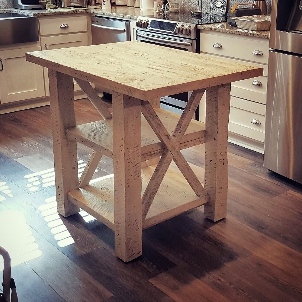 Whitewash Reclaimed Wood Kitchen Island with Shelves