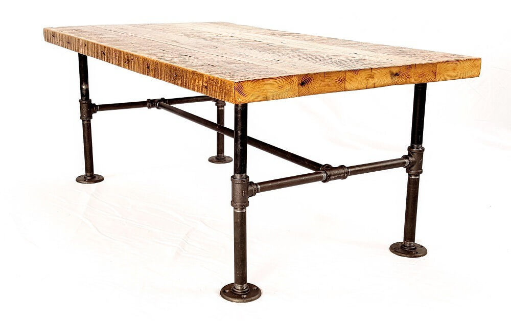 Modern Industrial Coffee Table with Raclaimed Wood Top and Iron Pipe Legs