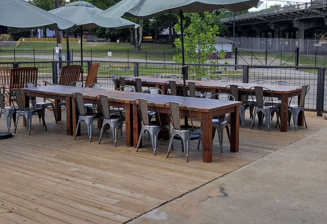 Farm Tables Made with Reclaimed Wood at Back Forty Birmingham, AL