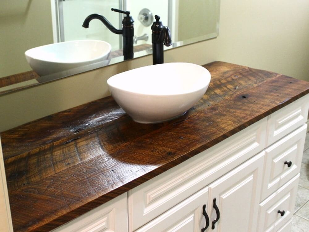 Rustic Vanity Top Made with Reclaimed Oak Wood