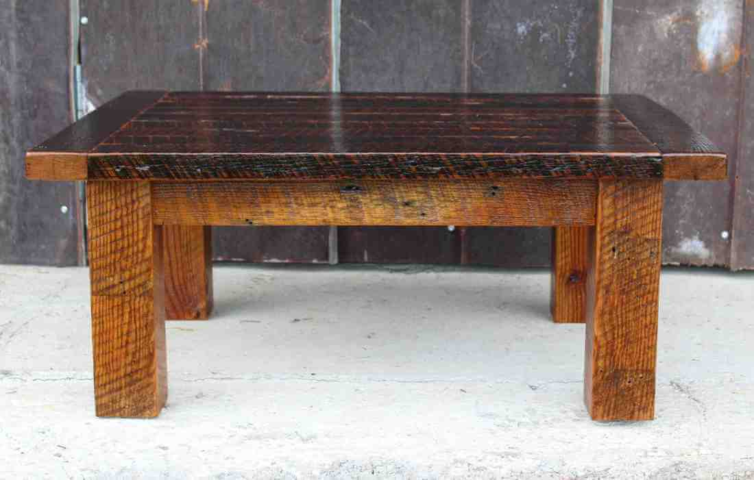 Reclaimed Wood Coffee Table with Tobacco Barn Wood Top
