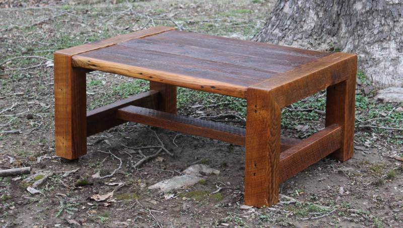 Rustic Coffee Table with Waterfall Legs Made with Reclaimed Wood