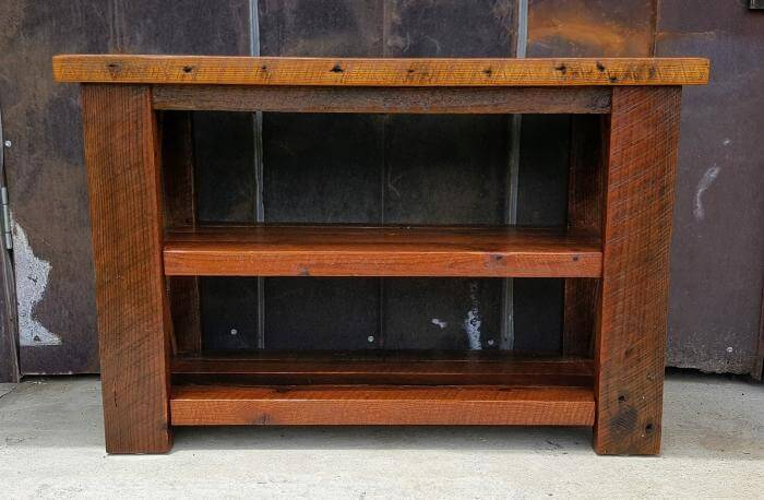 Rustic Reclaimed Wood Console Sofa Table with Two Shelves