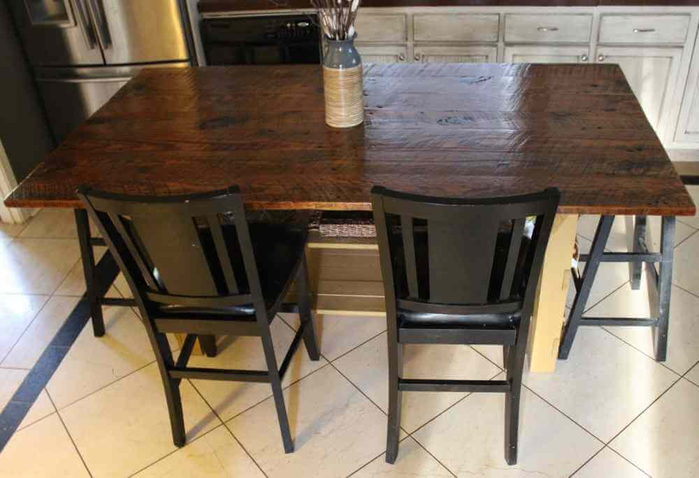 Rustic Kitchen Island Top Made with Reclaimed Wood
