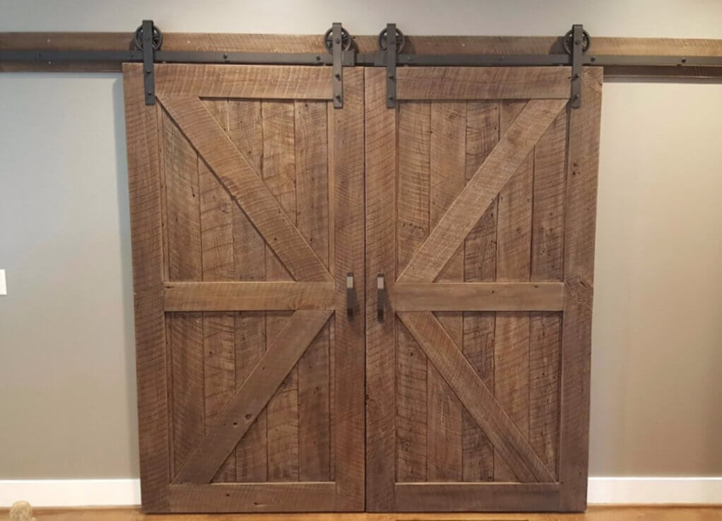 Reclaimed Wood Double Sliding Barn Doors with Black Hardware, Track, and Large Rollers