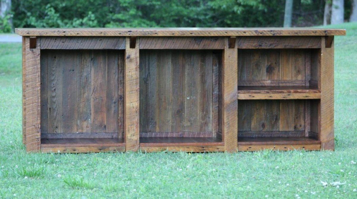 Large Rustic Reclaimed Wood Kitchen Island with Shelves