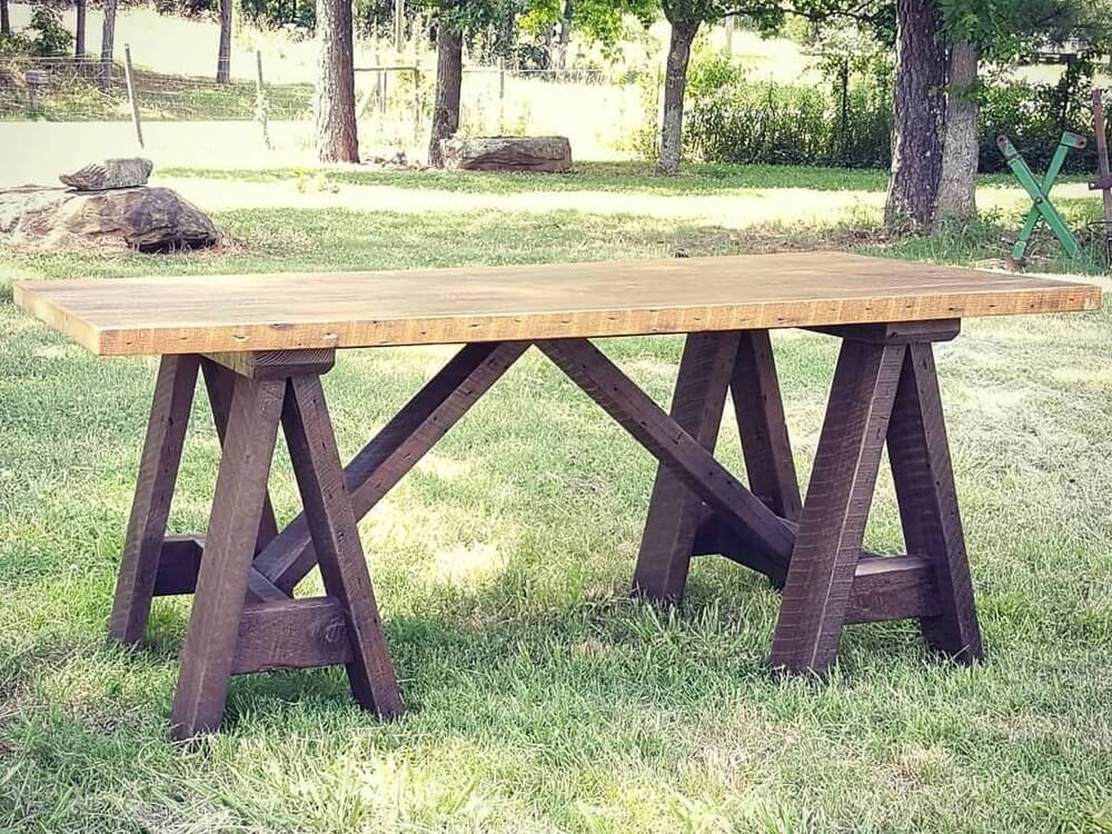 Farmhouse Table with Sawhorse Style Dark Base Made with Reclaimed Wood