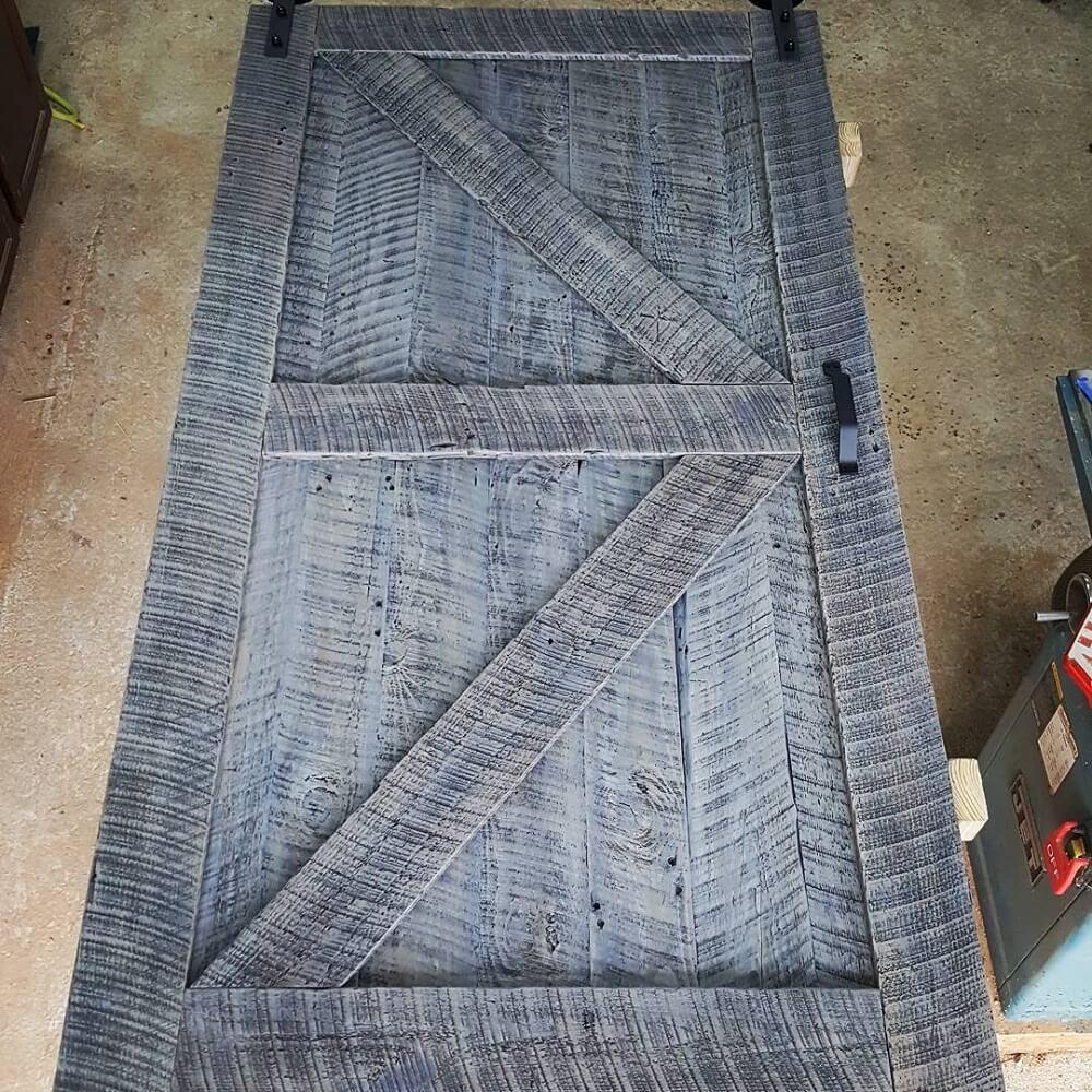Reclaimed Wood Barn Door with Black Handle