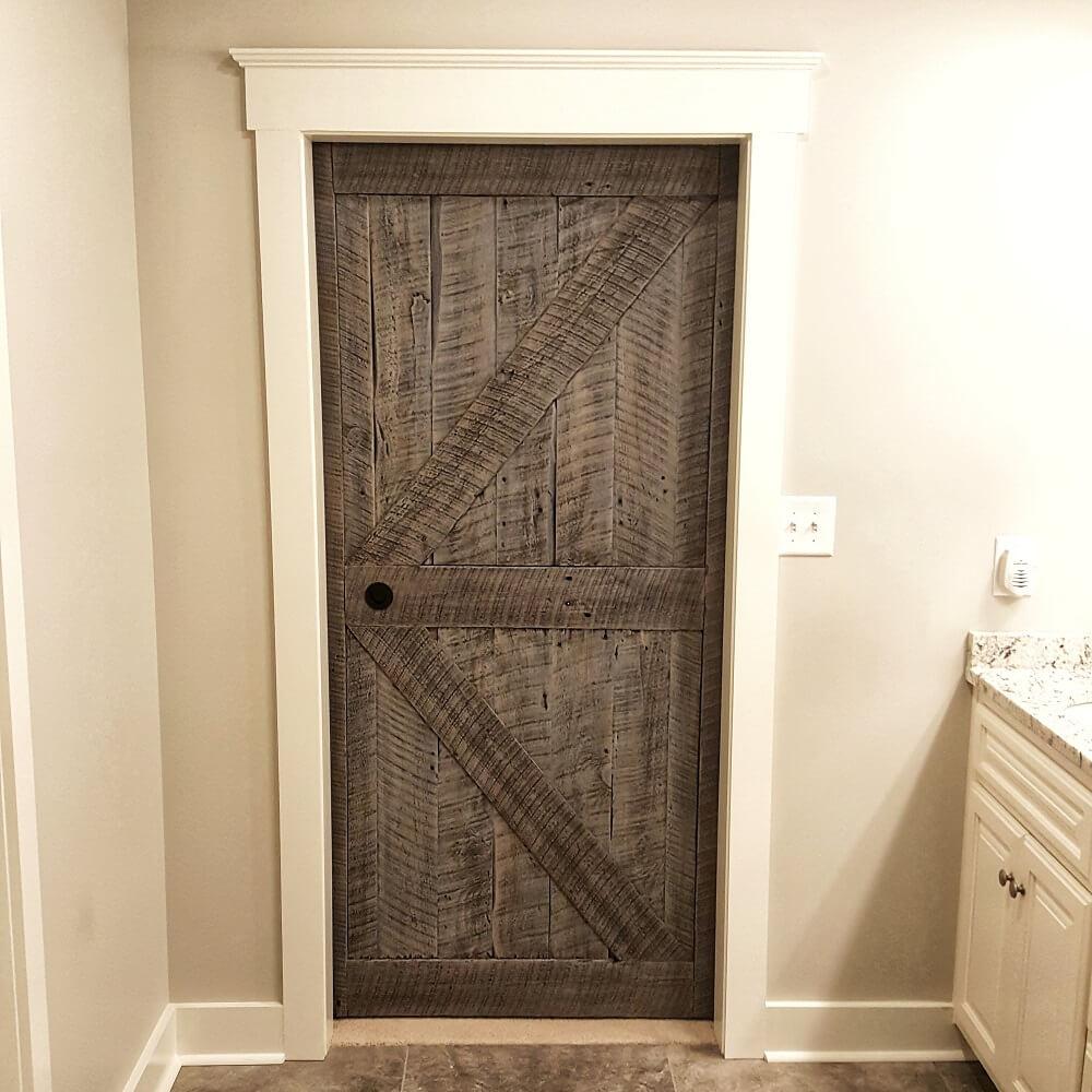 Backside of Sliding Barn Door Made from Reclaimed Wood