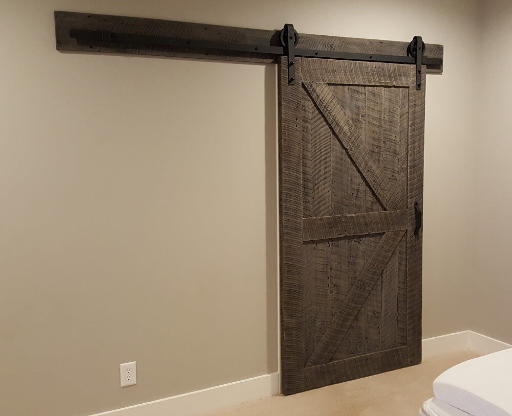 Reclaimed Wood Sliding Barn Door with Black Hardware