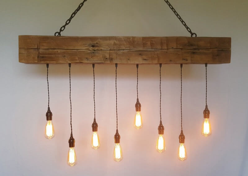 Rustic Hand Hewn Wood Beam Chandelier with Edison Bulbs