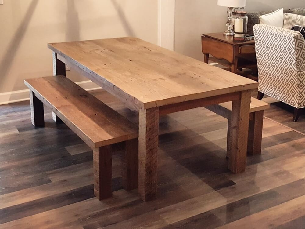 Reclaimed Wood Farm Table With Square Legs And Matching Benches