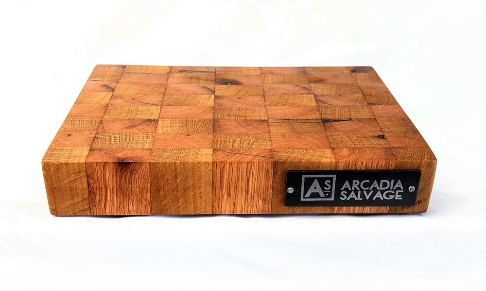 End Grain Cutting Board Made with Reclaimed Oak Wood
