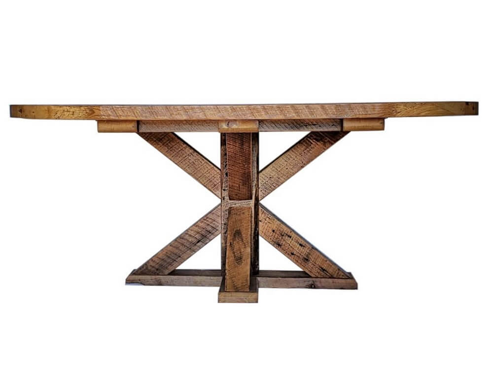 Reclaimed Wood Oval Top Dining Table with Pedestal Base