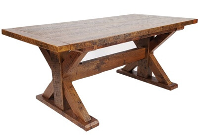Rustic Reclaimed Wood Trestle Farm Table with Breadboard Ends