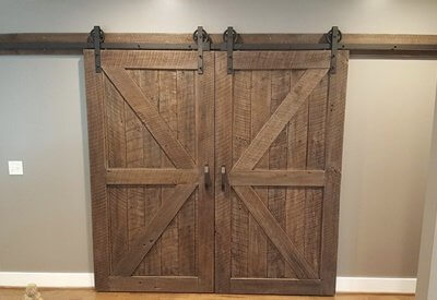 Reclaimed Wood Double Sliding Barn Doors with Black Hardware and Track
