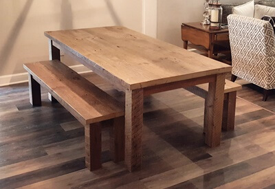 Reclaimed Wood Farm Table With Square Legatching Benches